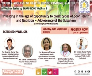 Webinar on Investing in the age of opportunity to break cycles of poor Health and Nutrition – Adolescence of the Subaltern